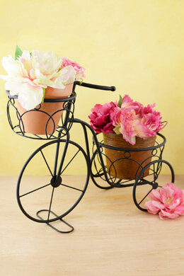 Plant Stand Tricycle Metal Black