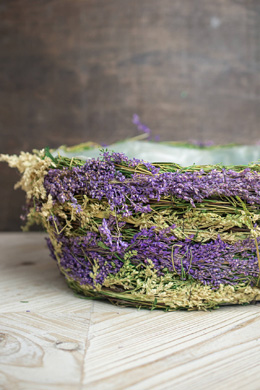Dried Flower & Wheat Planter Basket Round 5x13in