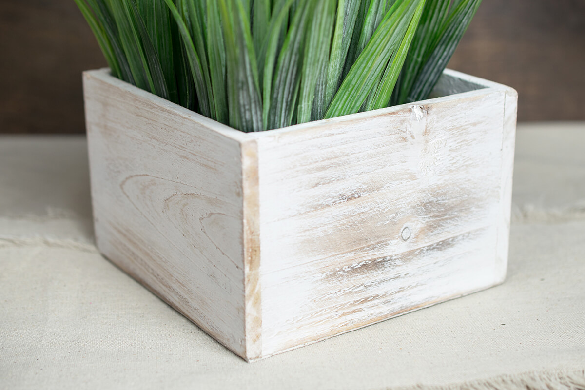 Whitewashed Wood Square Planter Box 6x6