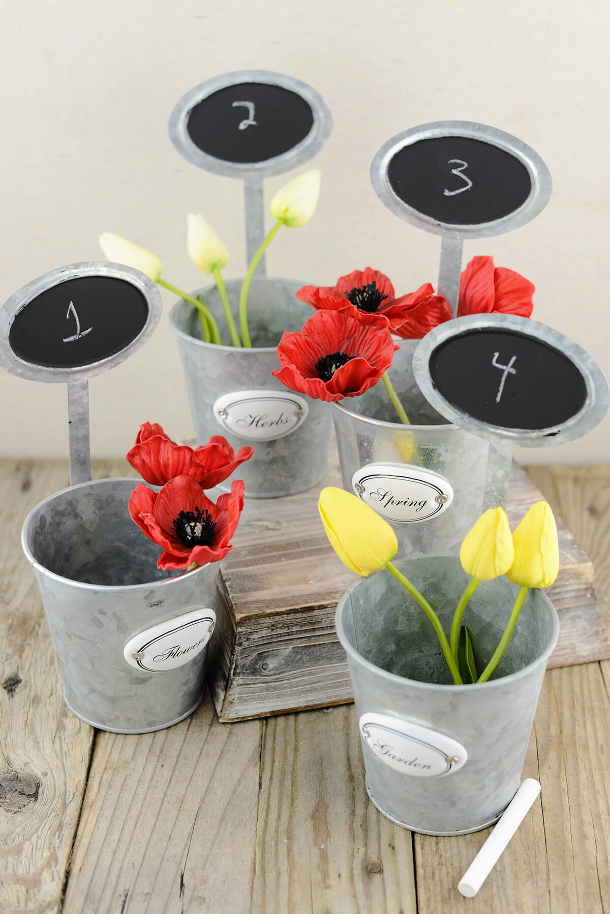 """12 Table Number Garden Planters with Chalkboards  9"""""""
