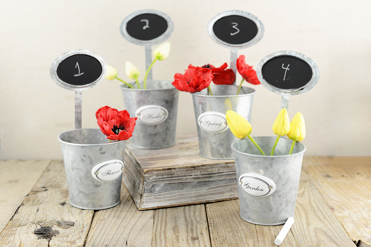 12 Table Number Garden Planters with Chalkboards  9""