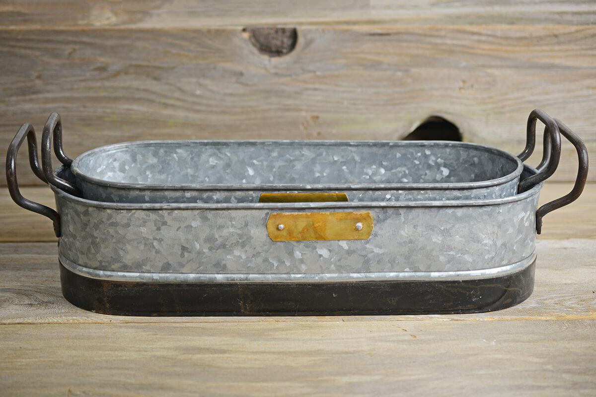2 Planter Trays Metal Galvanized with Handles