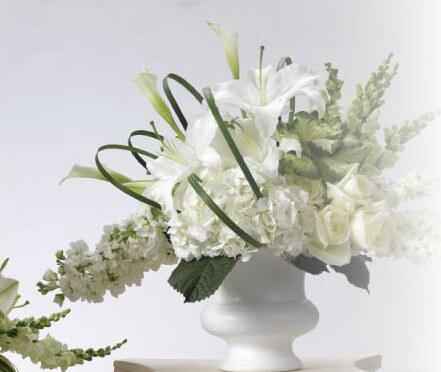 Designer Urn - White  Plastic High Gloss 9.5in