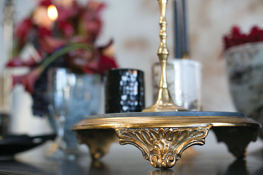 Gold & Black Marble Grandeur Plate 14in