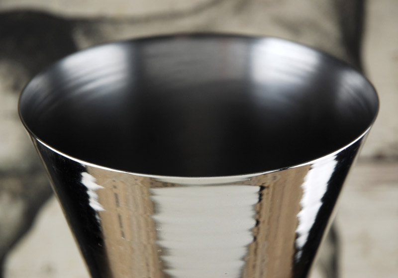 """Silver Metal  Fluted Vase 13"""""""