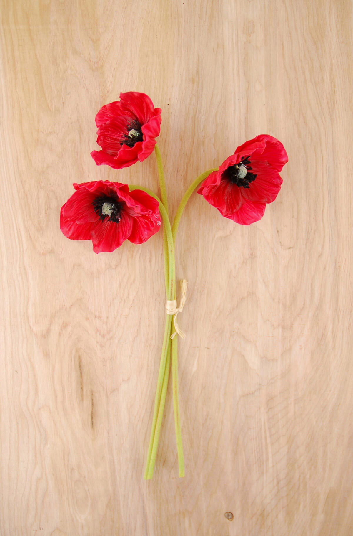 3 red natural touch poppy flowers mightylinksfo