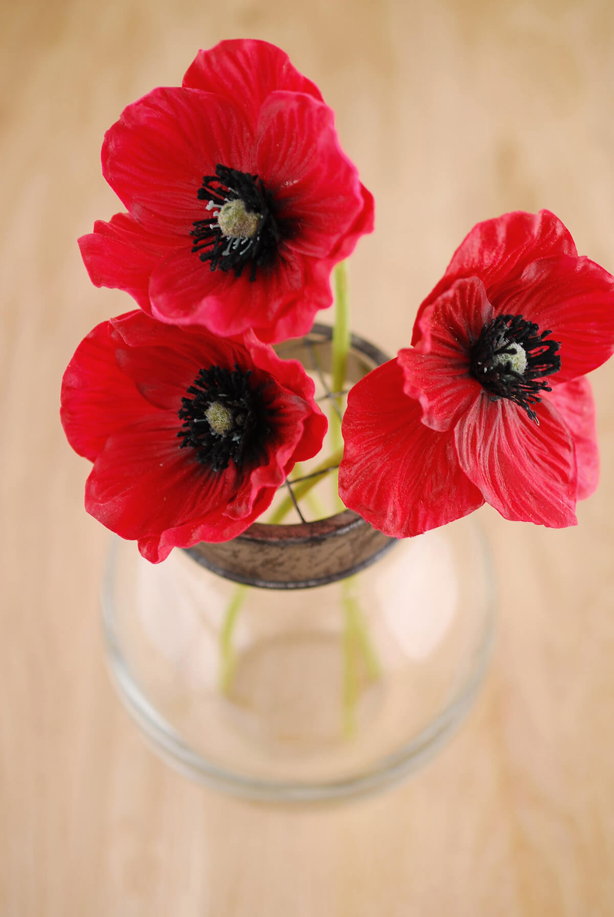 Red natural touch poppy flowers 3 red natural touch poppy flowers mightylinksfo