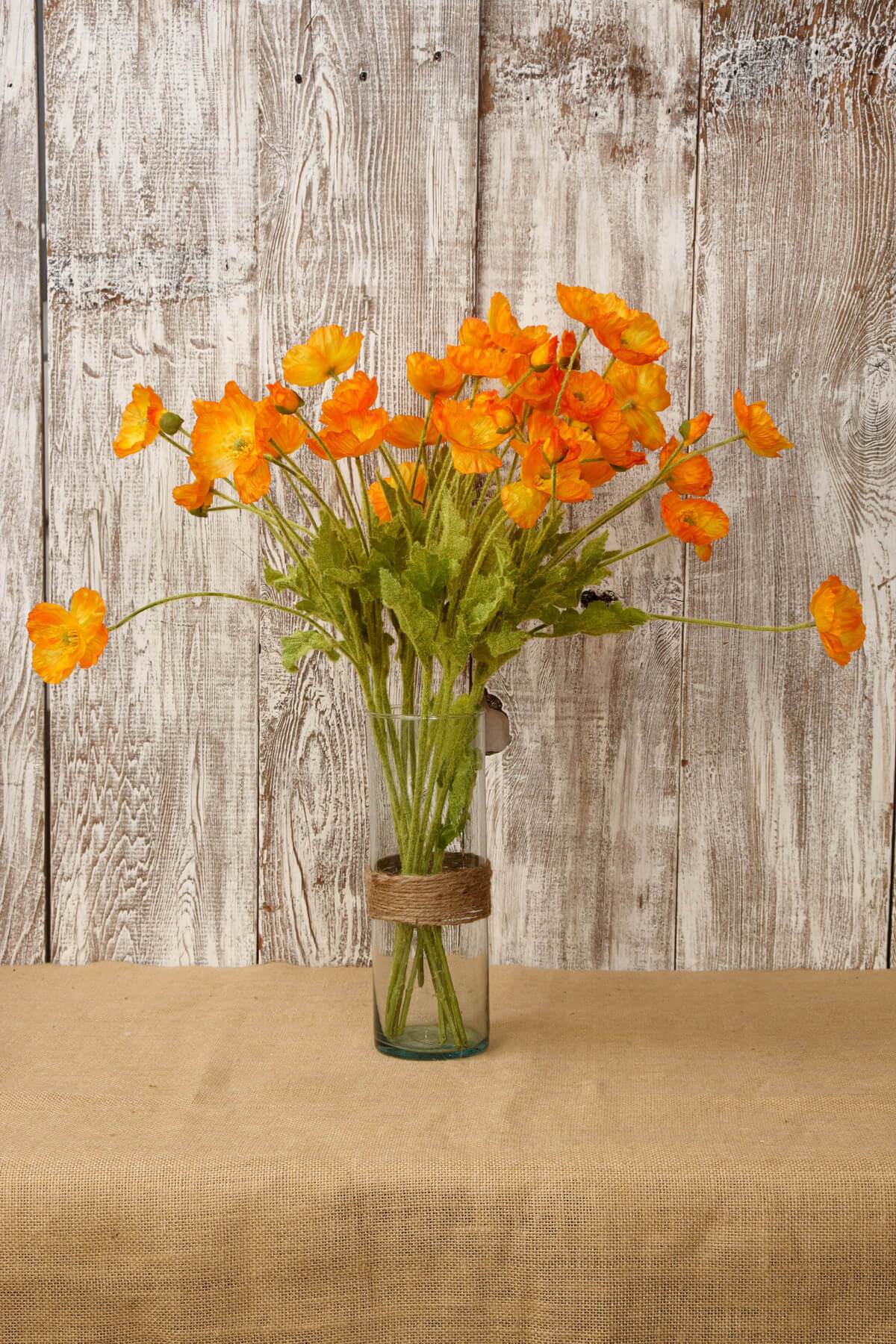 12 Orange Poppy Flowers Silk Flowers
