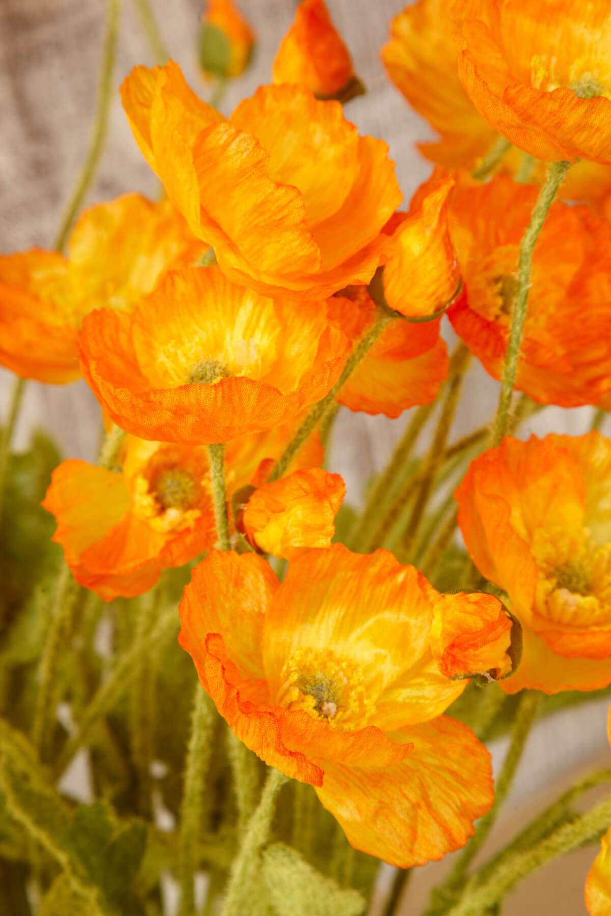 12 Orange Poppy Flowers Silk Flowers