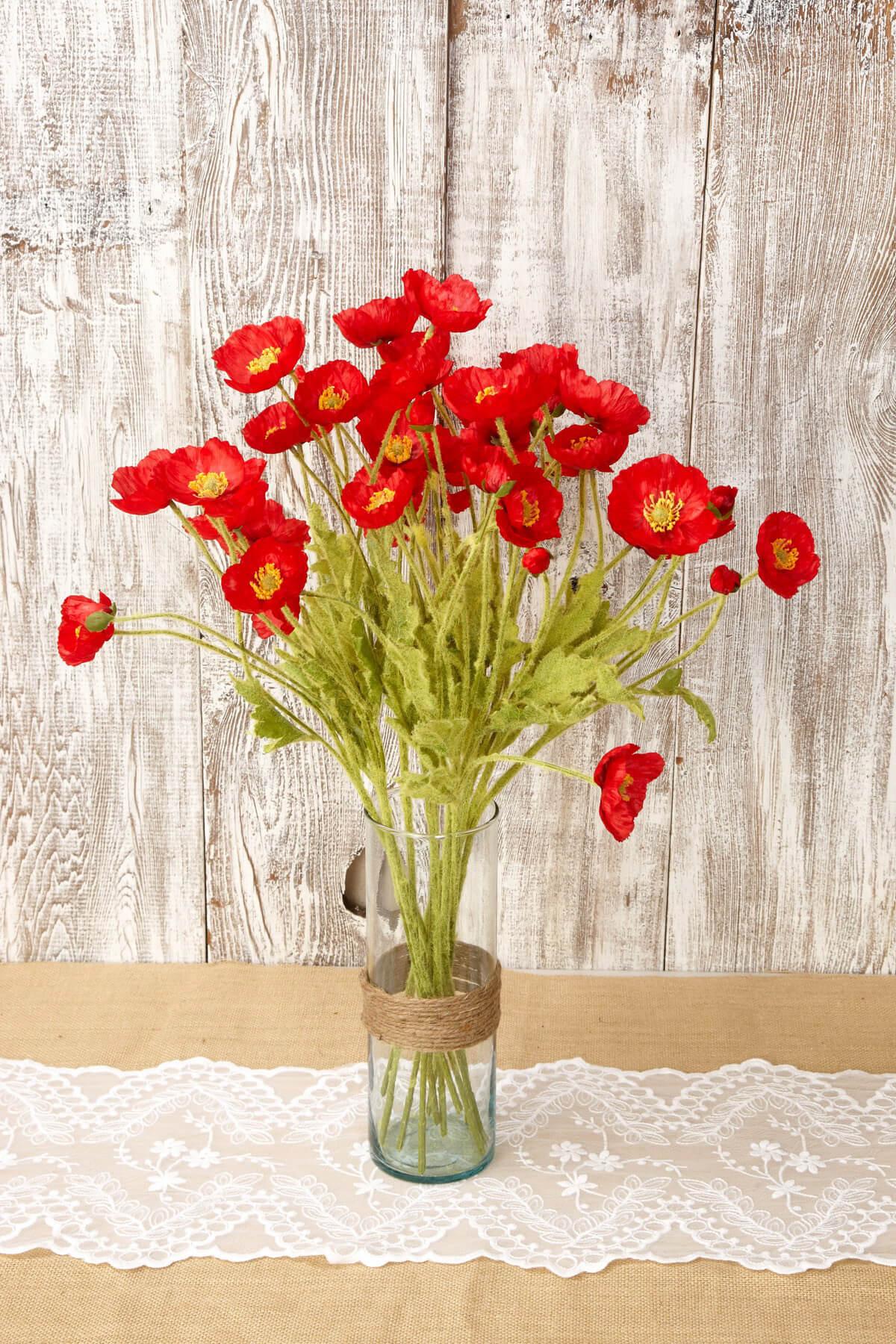 12 Red Silk Poppy Flowers 23