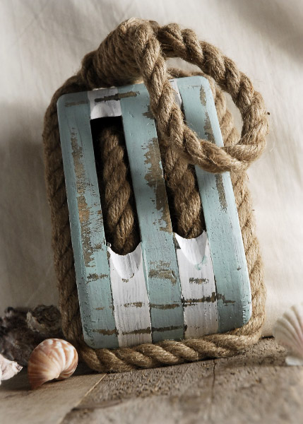 Ships Wood Pulley With Rope Blue Amp White Nautical Decor