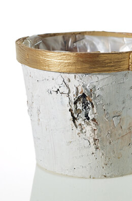 "5.5"" Small Gold Trim Birch Bark Pot"