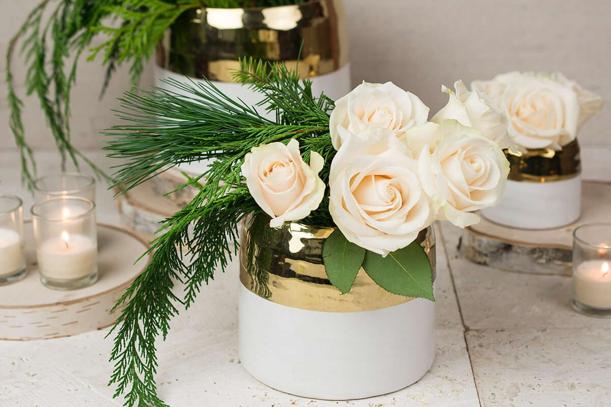 White and Gold Ceramic Claire Vase & Pot 5.75'' x 5''