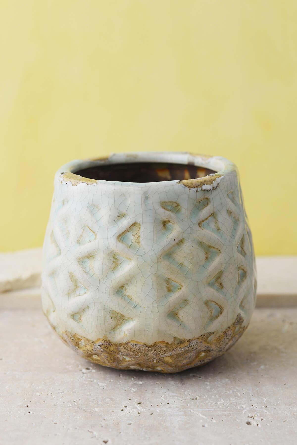 """Cream & Aqua Ceramic 5-1/2"""" Congo Pots"""