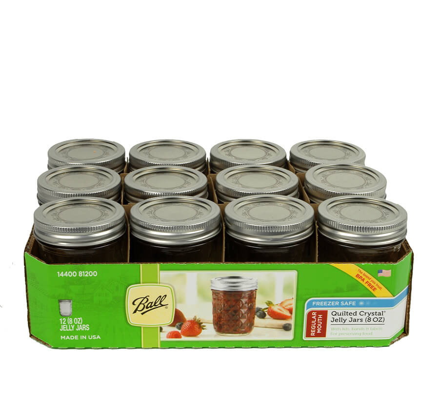 12 Ball 8 Oz Qulted Crystal Jelly Jars With Lids Amp Bands