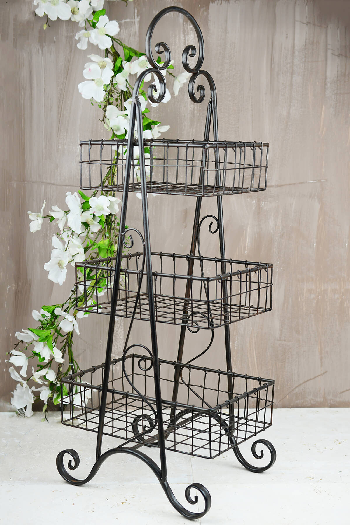 Tall 3 Tier Basket Rack 36in