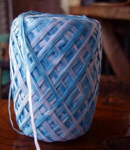 Raffia Ribbon - Sky Blue & White (100 yard roll)