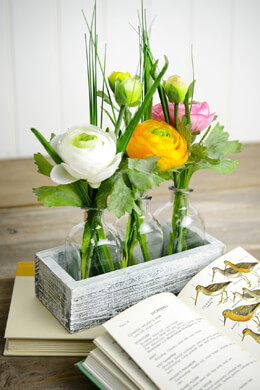 Spring Flowers in a Whitewashed Crate 3 Bottle Vases