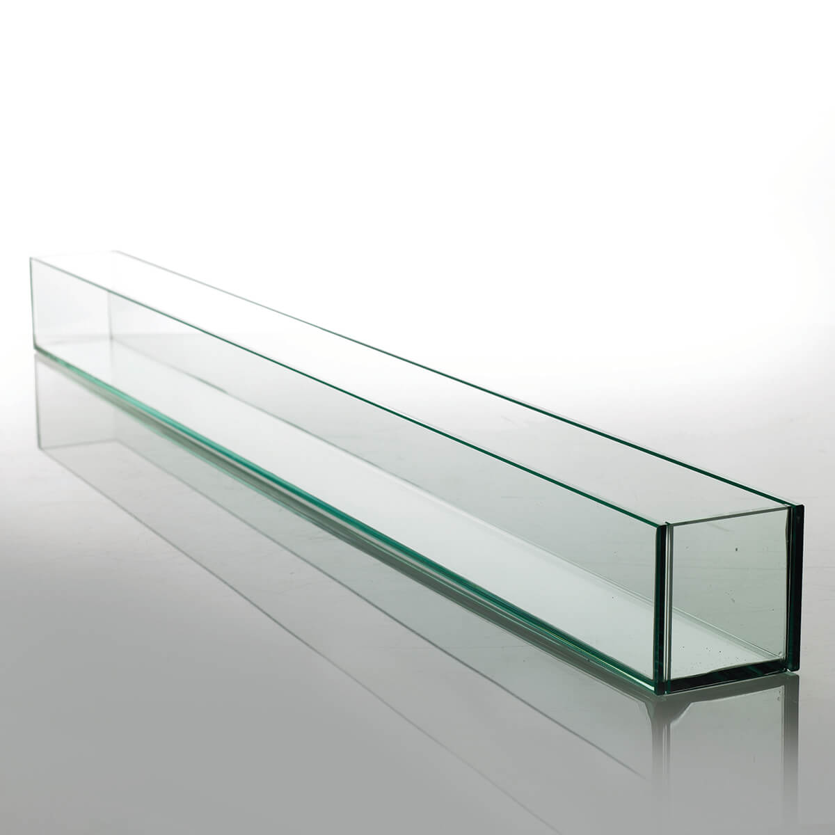 Large 47in Long Thick Glass Display Candleholder Planter