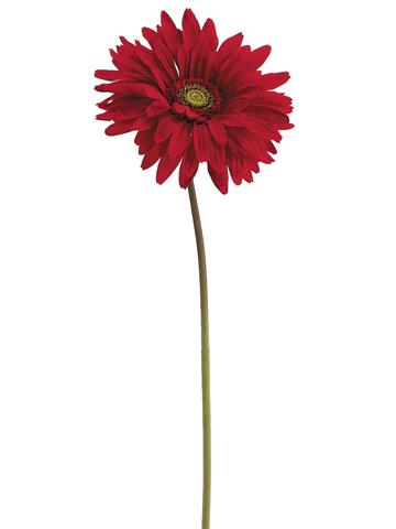 Red Silk Gerbera Daisy Flowers, 7in Flower