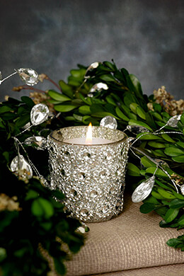 6 Silver Rhinestone Votive Holders