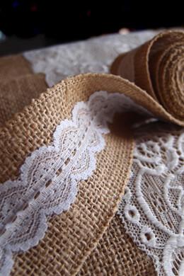 "Burlap & Scalloped Lace Trim Ribbon 2"" width x 6 ft"