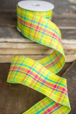 Lime Green Plaid Canvas Ribbon 2.5 x 10 yds Wired