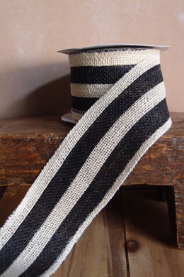"Black & White Striped Burlap Ribbon 2.5"" Width x 10 Yds"