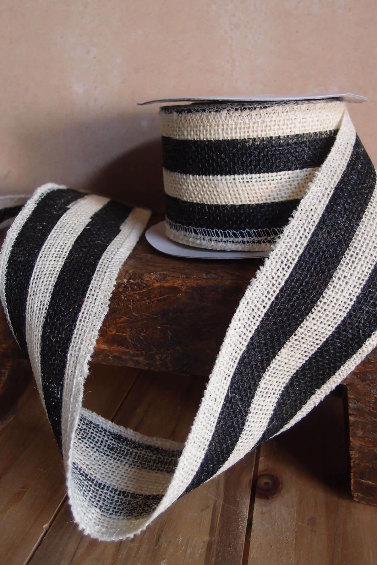 Black Amp White Striped Burlap Ribbon 2 5 Quot Width X 10 Yds