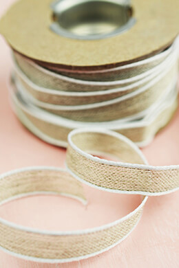 Natural Linen 3/8 Ribbon with White Edges  11yd