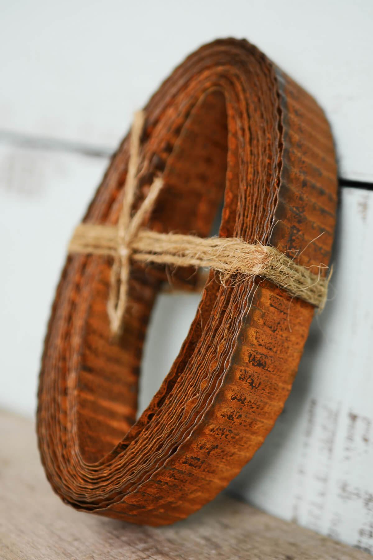 Rusty Corrugated Tin Ribbon 1in 15ft