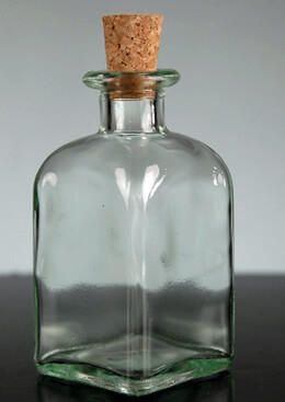 Roma Glass Rectangle Bottle with Cork 3.4 oz