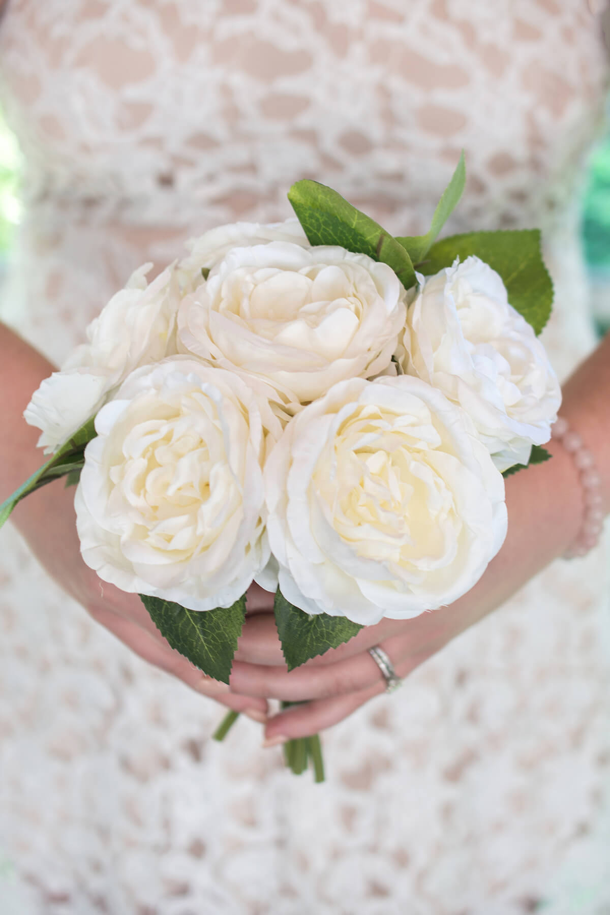 Cream White Silk Rose Bouquet