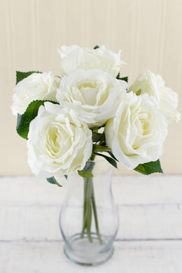 cream white silk flower rose bouquet - Blush Garden Rose Bouquet