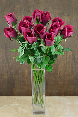 "One Dozen Burgundy Silk Ecuador Roses 24"""
