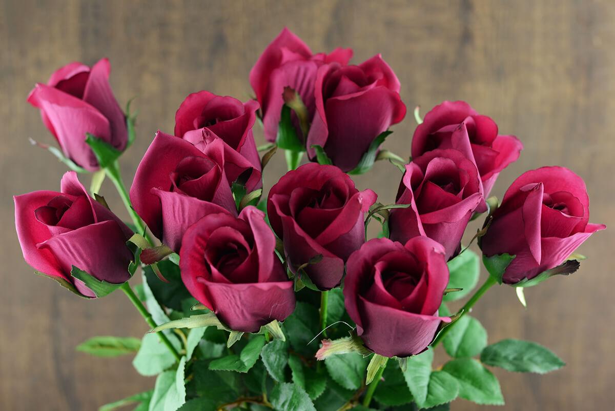 one dozen burgundy silk ecuador roses 24 u0026quot
