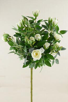 Cream White Silk Rose Topiary Spray   21in