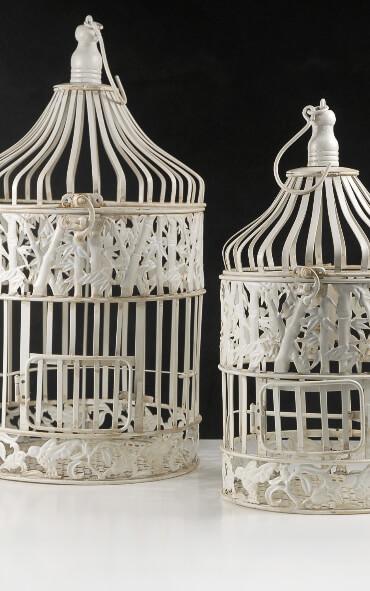 Round Wedding Birdcages Set of 2 Cream White