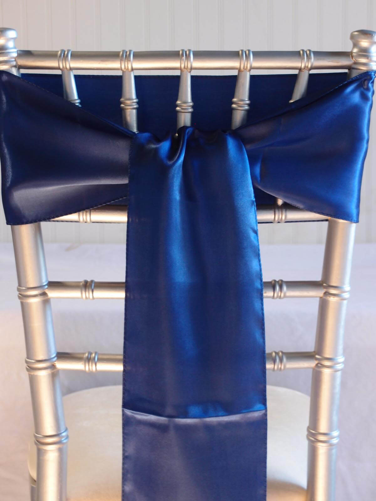 10 Royal Blue Satin Chair Sashes 6x106