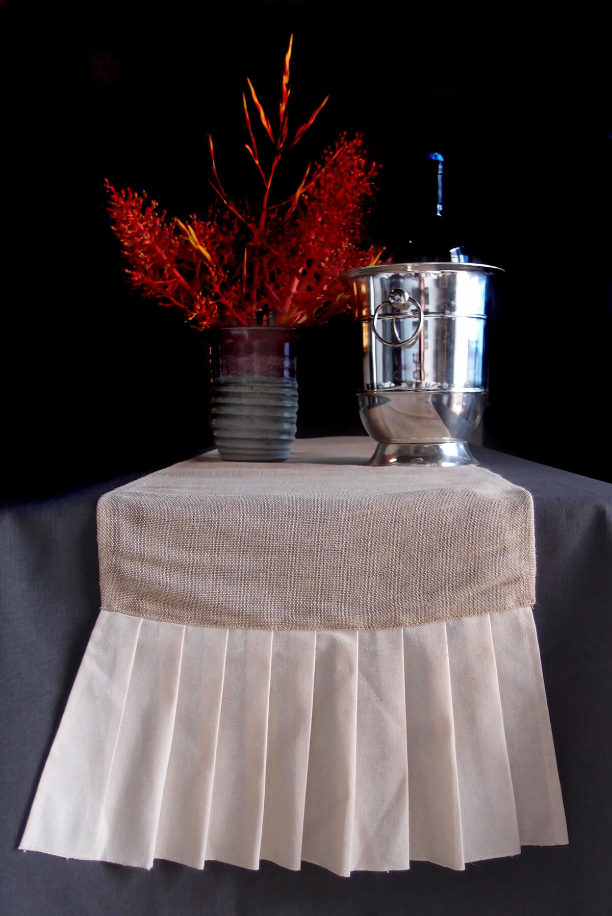Burlap Amp Cotton Pleated Ruffle Table Runner 114 Inches