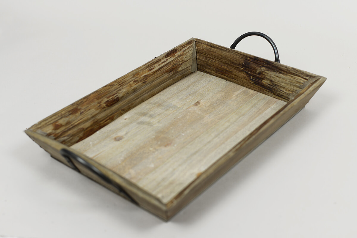 20 Inch Wood Tray With Iron Handles