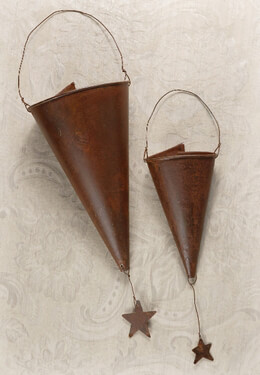 Hanging Flower Cones with Stars Set of 2