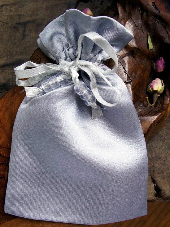 Silver Satin Wedding Favor Bags (6 Bags)  Pouches