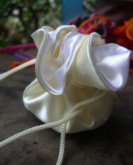 12 Tiny Cream & White Satin Favor Bags