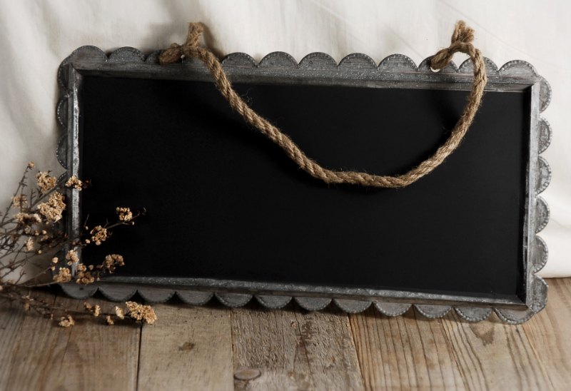 Hanging Chalkboard in Zinc with Scalloped Frame 19in