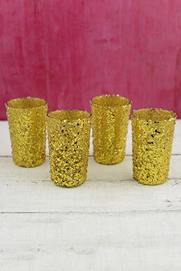 Sequin Votive Holders Gold 4in (Pack of 4)