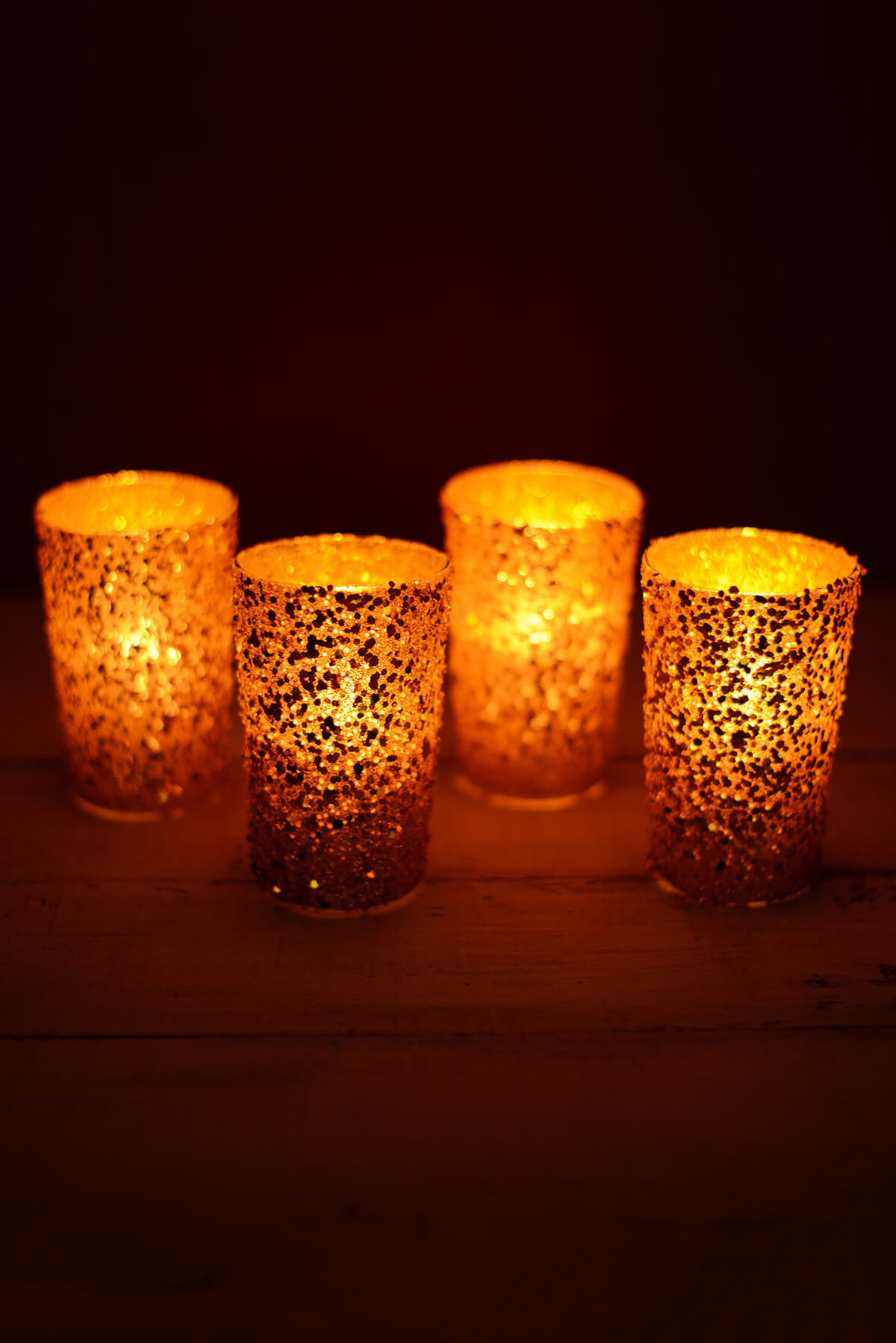 sequin votive holders gold 4in pack of 4