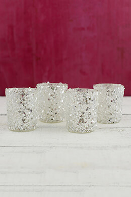 Sequin Votive Holders Silver 2.5in (Pack of 4)