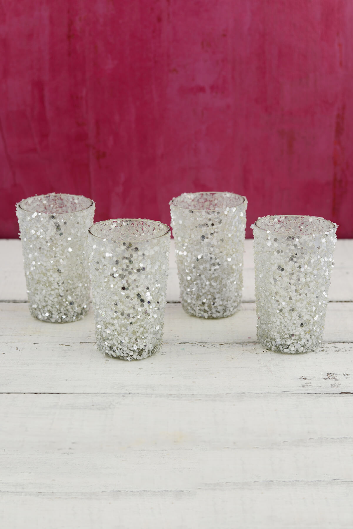 Sequin Votive Holders Silver 4in Pack Of 4