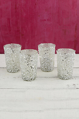 Sequin Votive Holders Silver 4in (Pack of 4)